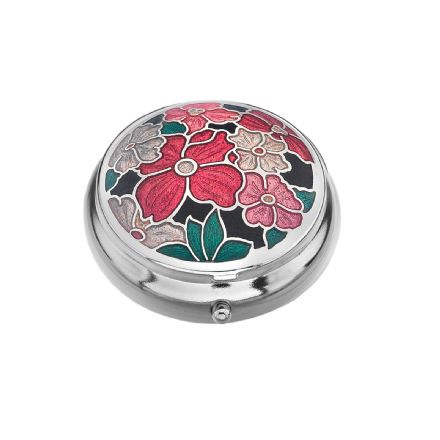 Pill Box, Red Multi Flower
